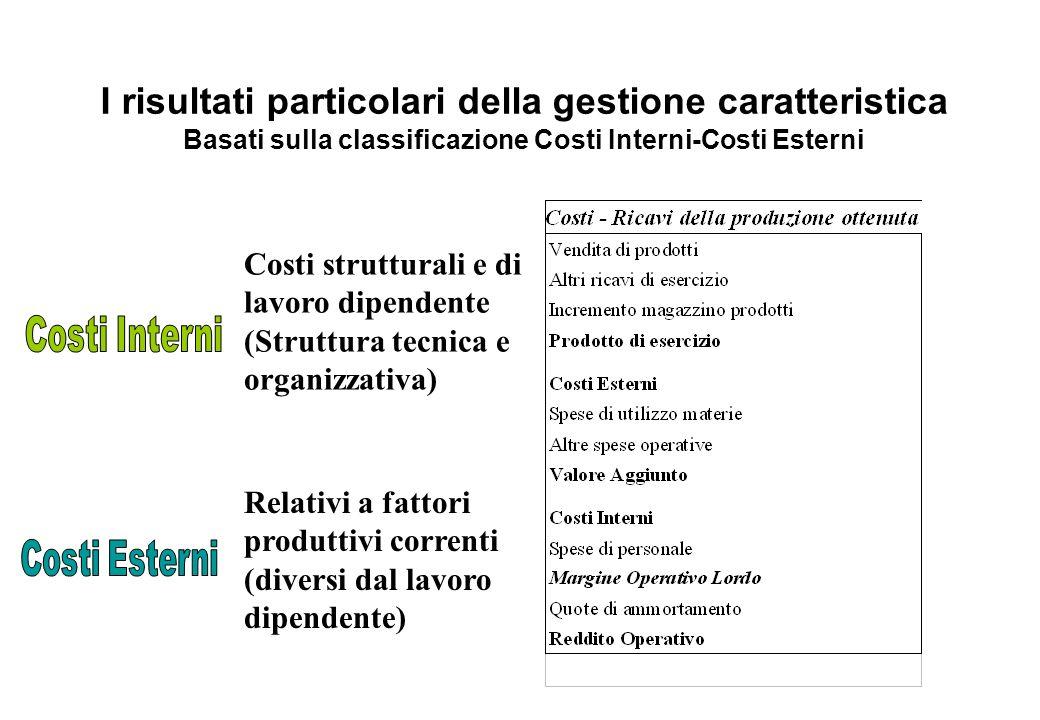 I risultati particolari della gestione caratteristica Basati sulla classificazione Costi Interni-Costi Esterni Costi strutturali e di lavoro dipendent