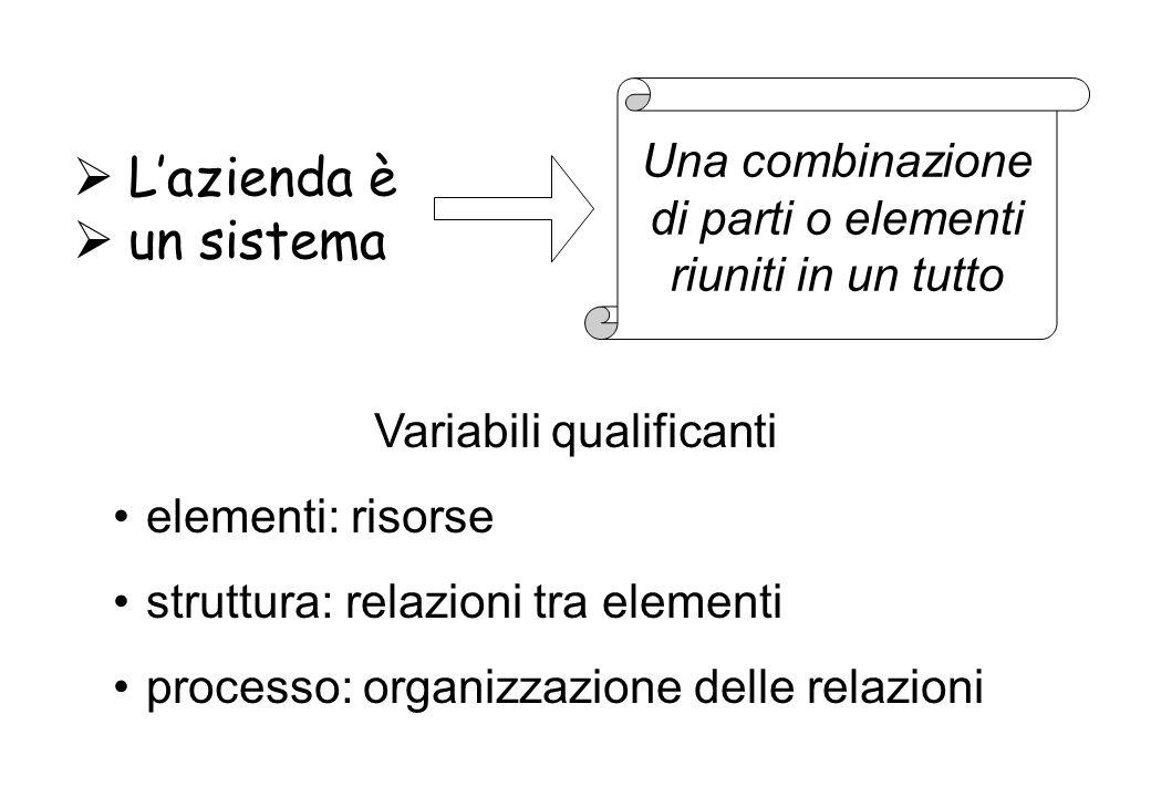 Variabili qualificanti elementi: risorse struttura: relazioni tra elementi processo: organizzazione delle relazioni Lazienda è un sistema Una combinazione di parti o elementi riuniti in un tutto