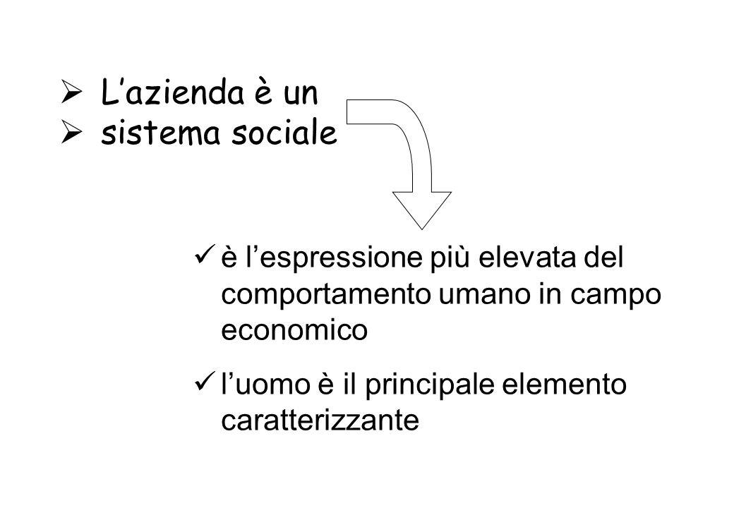 Lazienda è un sistema sociale è lespressione più elevata del comportamento umano in campo economico luomo è il principale elemento caratterizzante