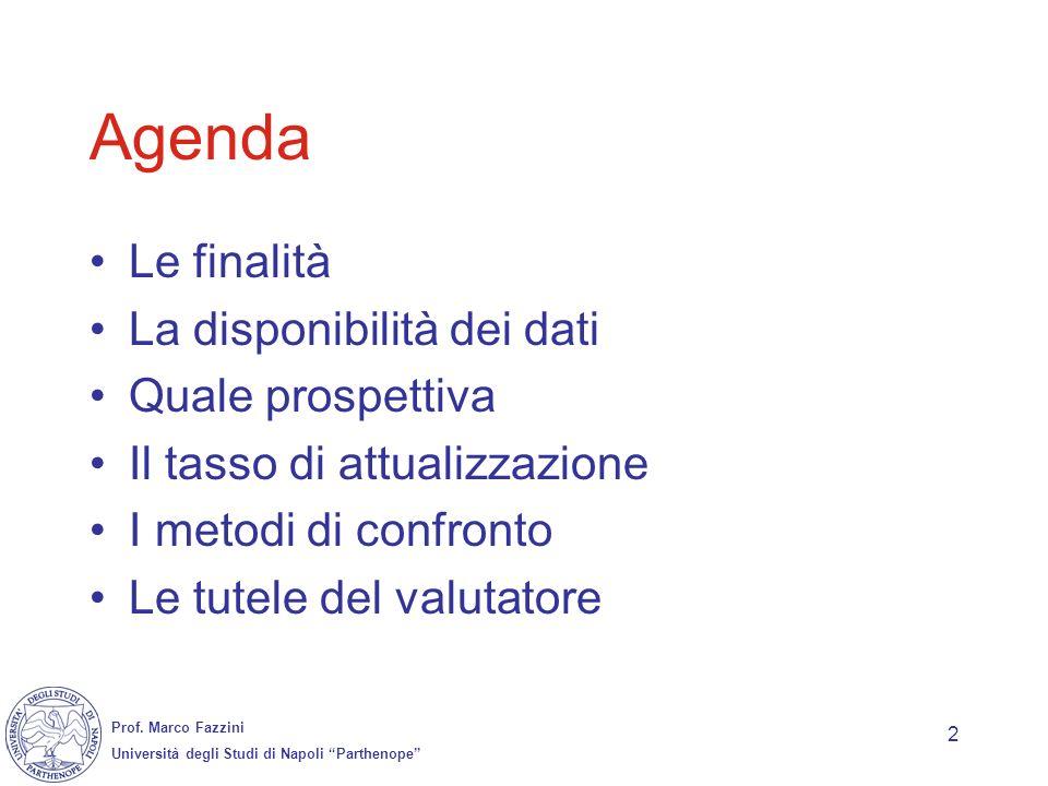 Prof. Marco Fazzini Università degli Studi di Napoli Parthenope 2 Agenda Le finalità La disponibilità dei dati Quale prospettiva Il tasso di attualizz