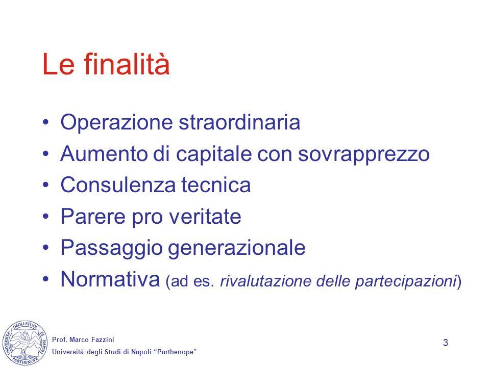 Prof. Marco Fazzini Università degli Studi di Napoli Parthenope 3 Le finalità Operazione straordinaria Aumento di capitale con sovrapprezzo Consulenza