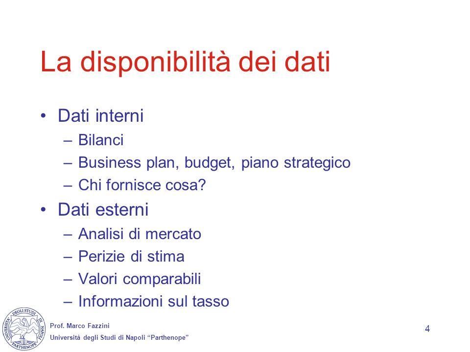 Prof. Marco Fazzini Università degli Studi di Napoli Parthenope 4 La disponibilità dei dati Dati interni –Bilanci –Business plan, budget, piano strate