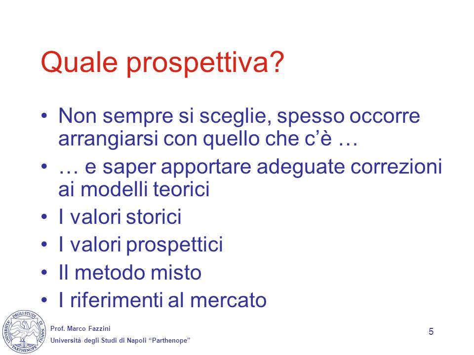 Prof. Marco Fazzini Università degli Studi di Napoli Parthenope 5 Quale prospettiva? Non sempre si sceglie, spesso occorre arrangiarsi con quello che