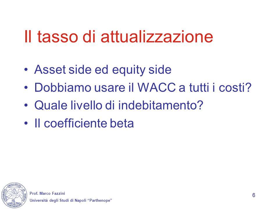 Prof. Marco Fazzini Università degli Studi di Napoli Parthenope 6 Il tasso di attualizzazione Asset side ed equity side Dobbiamo usare il WACC a tutti
