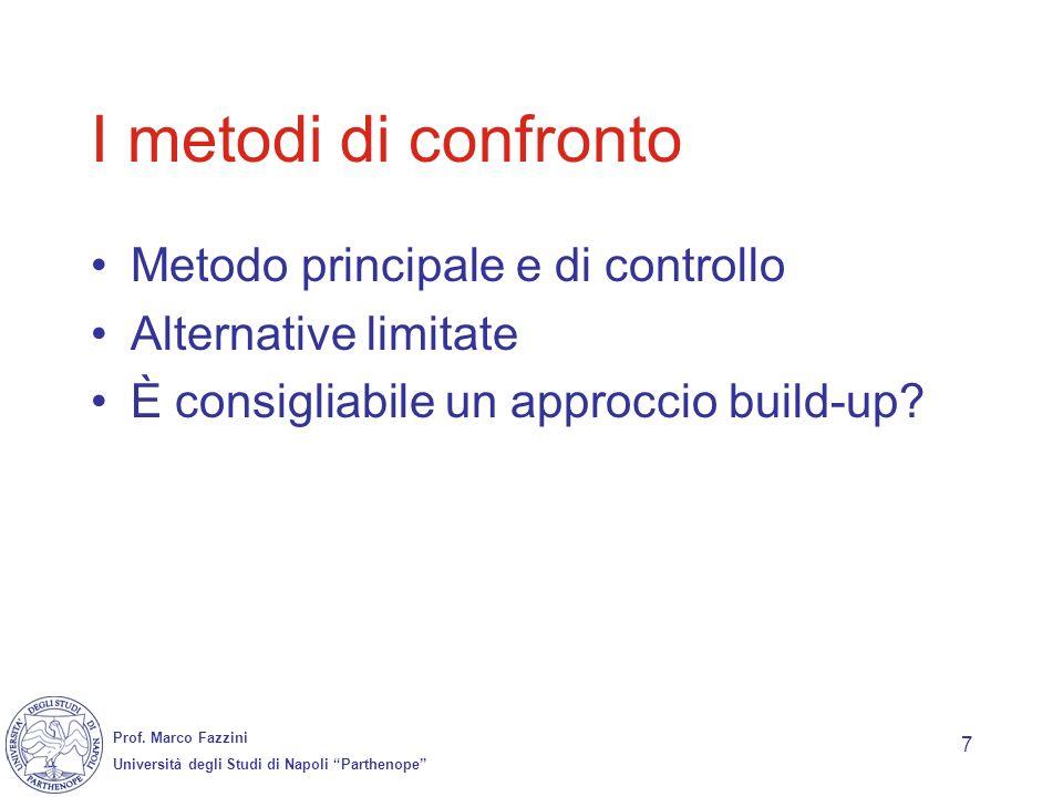Prof. Marco Fazzini Università degli Studi di Napoli Parthenope 7 I metodi di confronto Metodo principale e di controllo Alternative limitate È consig