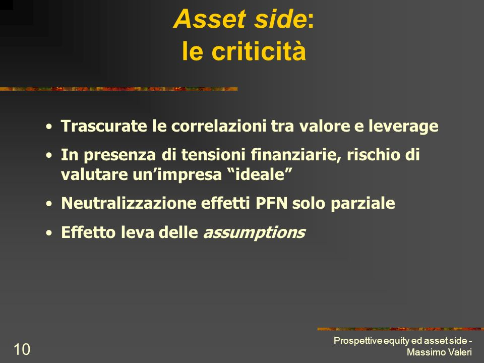 Prospettive equity ed asset side - Massimo Valeri 10 Asset side: le criticità Trascurate le correlazioni tra valore e leverage In presenza di tensioni