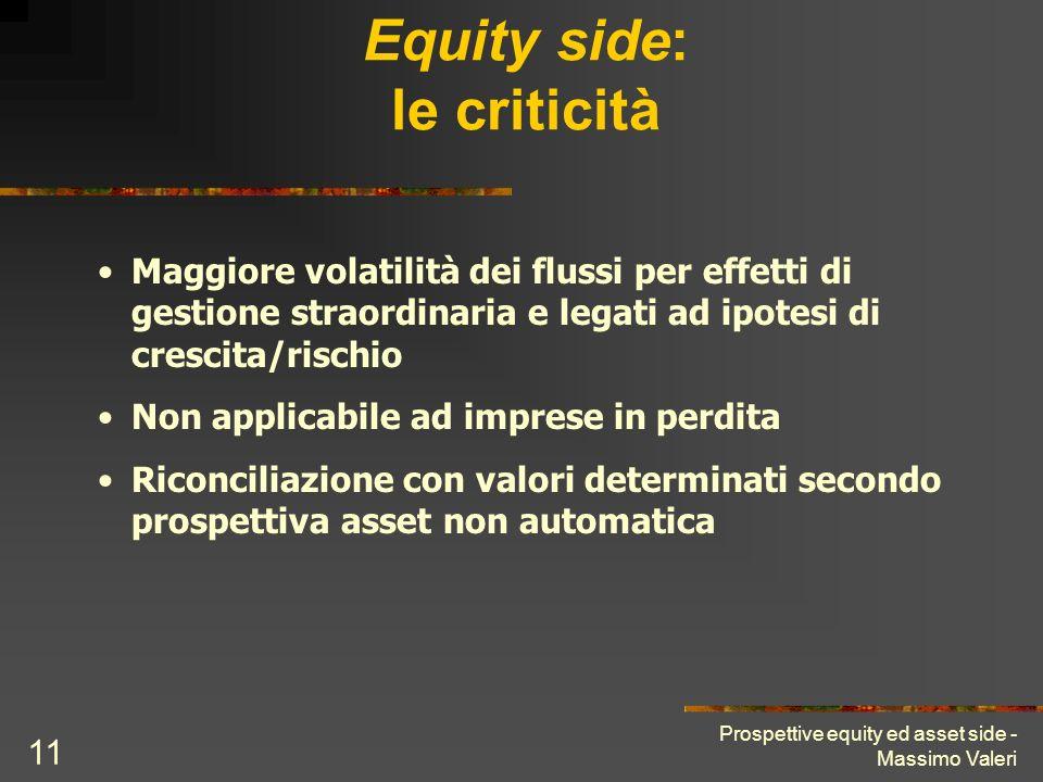 Prospettive equity ed asset side - Massimo Valeri 11 Equity side: le criticità Maggiore volatilità dei flussi per effetti di gestione straordinaria e
