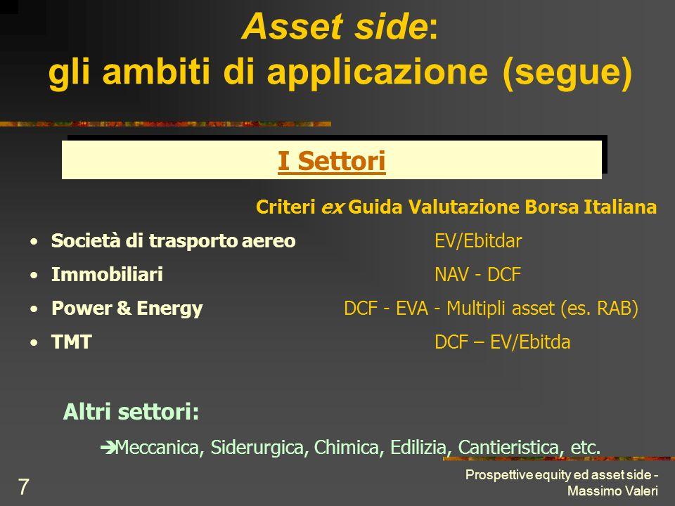 Prospettive equity ed asset side - Massimo Valeri 7 Asset side: gli ambiti di applicazione (segue) I Settori Altri settori: Meccanica, Siderurgica, Ch