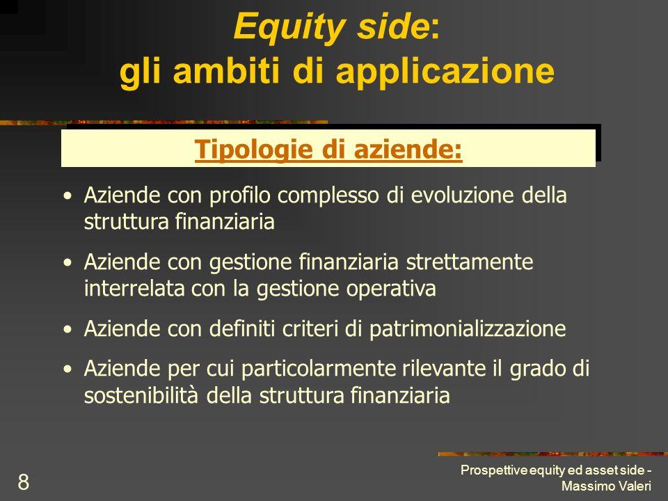 Prospettive equity ed asset side - Massimo Valeri 8 Equity side: gli ambiti di applicazione Tipologie di aziende: Aziende con profilo complesso di evo
