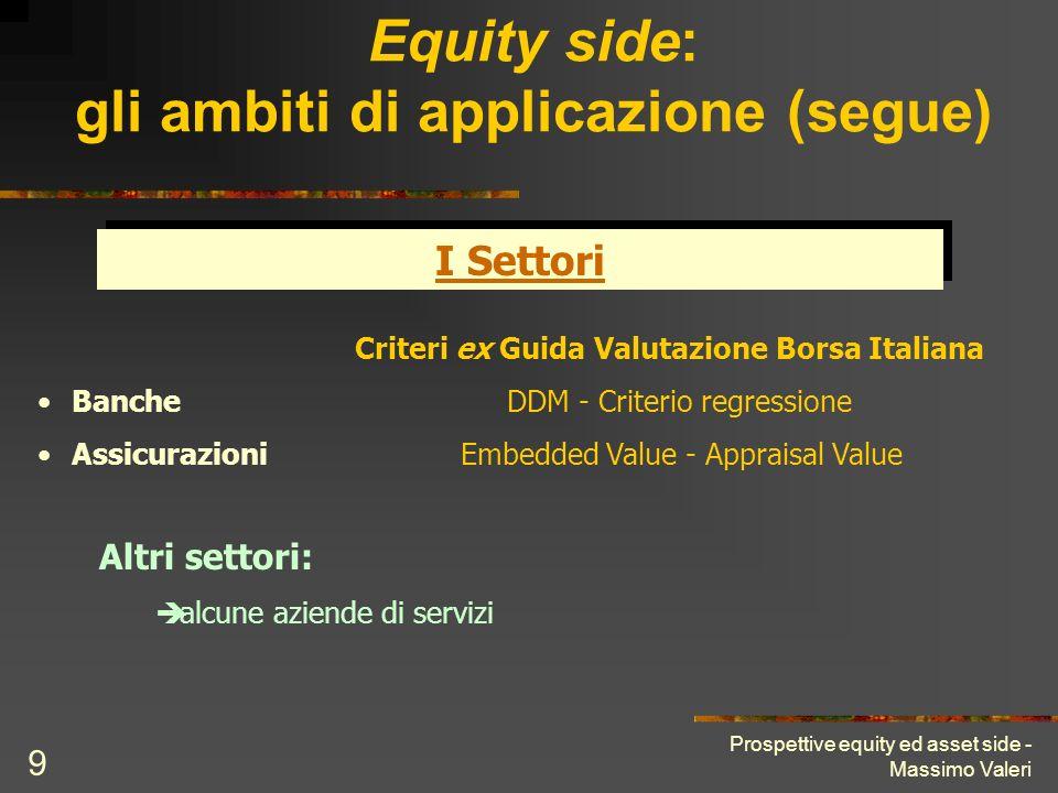 Prospettive equity ed asset side - Massimo Valeri 9 Equity side: gli ambiti di applicazione (segue) I Settori Criteri ex Guida Valutazione Borsa Itali