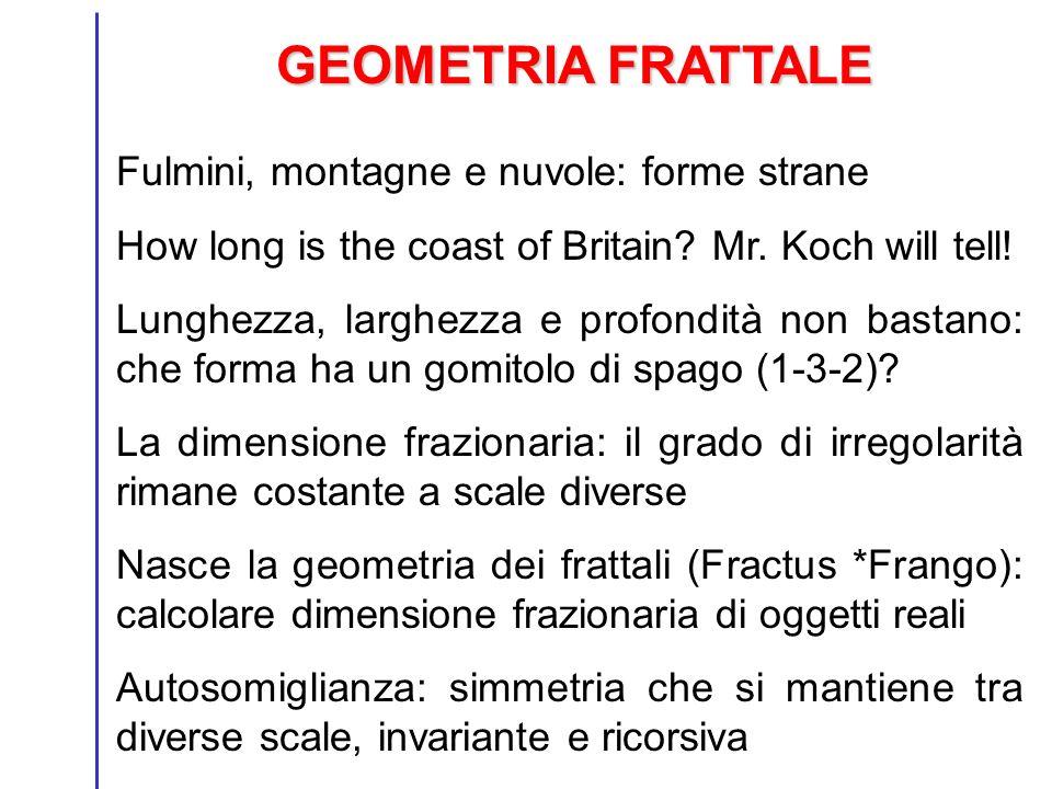 GEOMETRIA FRATTALE Fulmini, montagne e nuvole: forme strane How long is the coast of Britain? Mr. Koch will tell! Lunghezza, larghezza e profondità no