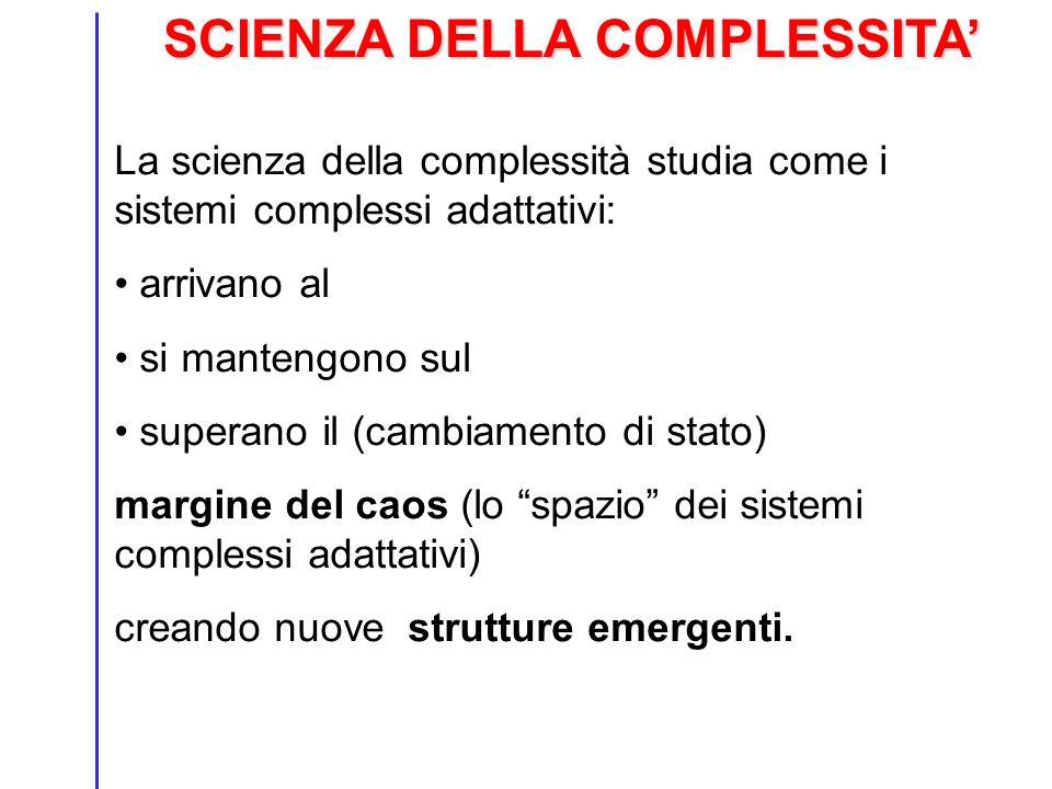 SCIENZA DELLA COMPLESSITA La scienza della complessità studia come i sistemi complessi adattativi: arrivano al si mantengono sul superano il (cambiame