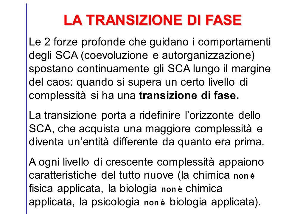 LA TRANSIZIONE DI FASE Le 2 forze profonde che guidano i comportamenti degli SCA (coevoluzione e autorganizzazione) spostano continuamente gli SCA lun