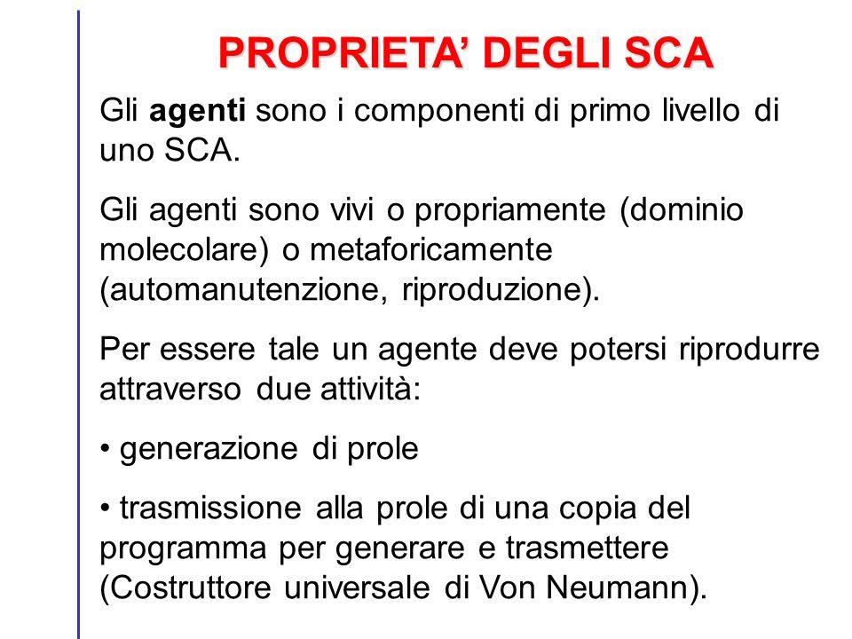 PROPRIETA DEGLI SCA Gli agenti sono i componenti di primo livello di uno SCA. Gli agenti sono vivi o propriamente (dominio molecolare) o metaforicamen