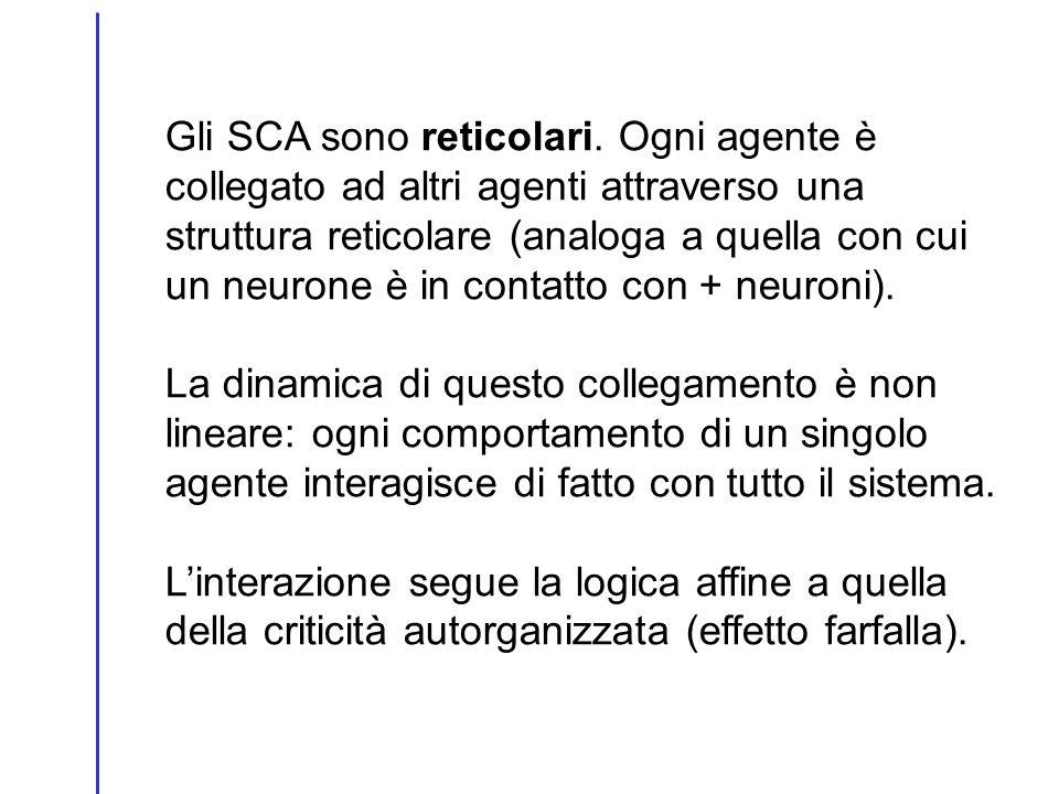 Gli SCA sono reticolari. Ogni agente è collegato ad altri agenti attraverso una struttura reticolare (analoga a quella con cui un neurone è in contatt