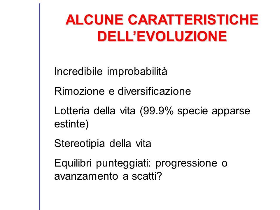 ALCUNE CARATTERISTICHE DELLEVOLUZIONE Incredibile improbabilità Rimozione e diversificazione Lotteria della vita (99.9% specie apparse estinte) Stereo