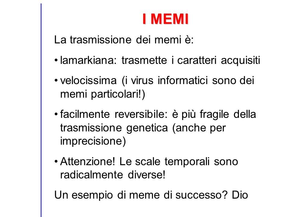 I MEMI La trasmissione dei memi è: lamarkiana: trasmette i caratteri acquisiti velocissima (i virus informatici sono dei memi particolari!) facilmente