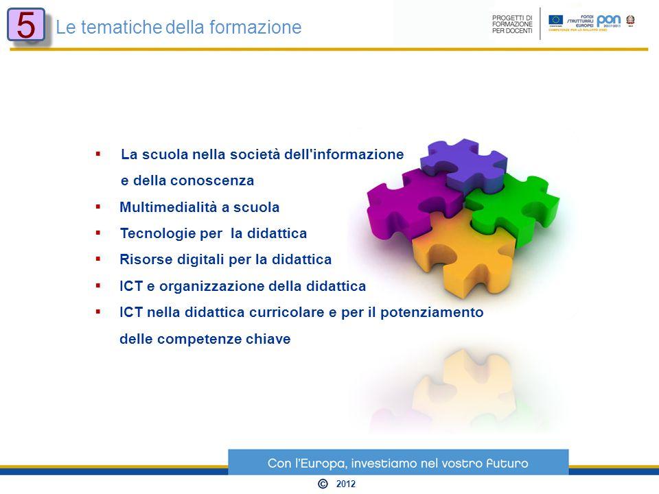 La scuola nella società dell informazione e della conoscenza Multimedialità a scuola Tecnologie per la didattica Risorse digitali per la didattica ICT e organizzazione della didattica ICT nella didattica curricolare e per il potenziamento delle competenze chiave Le tematiche della formazione 5 5 2012