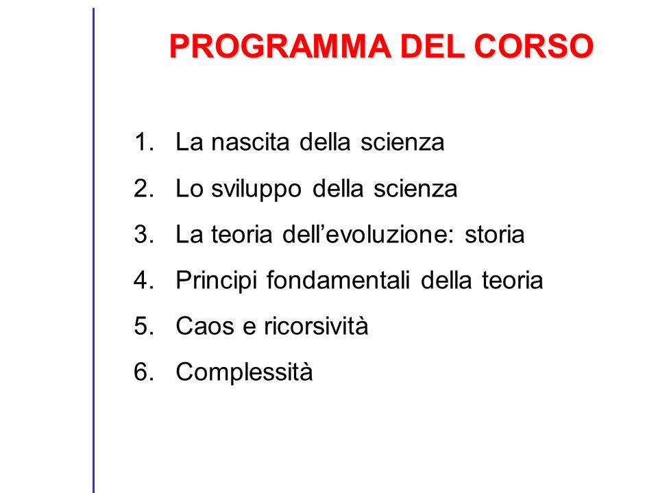 PROGRAMMA DEL CORSO 1.La nascita della scienza 2.Lo sviluppo della scienza 3.La teoria dellevoluzione: storia 4.Principi fondamentali della teoria 5.Caos e ricorsività 6.Complessità