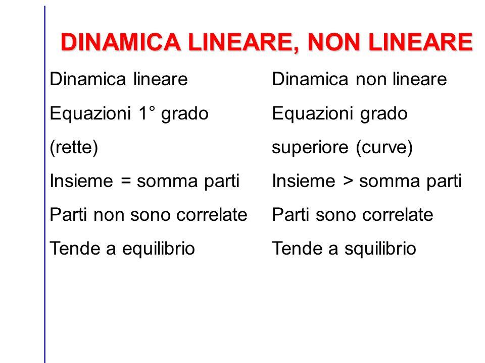 DINAMICA LINEARE, NON LINEARE Dinamica lineare Equazioni 1° grado (rette) Insieme = somma parti Parti non sono correlate Tende a equilibrio Dinamica non lineare Equazioni grado superiore (curve) Insieme > somma parti Parti sono correlate Tende a squilibrio
