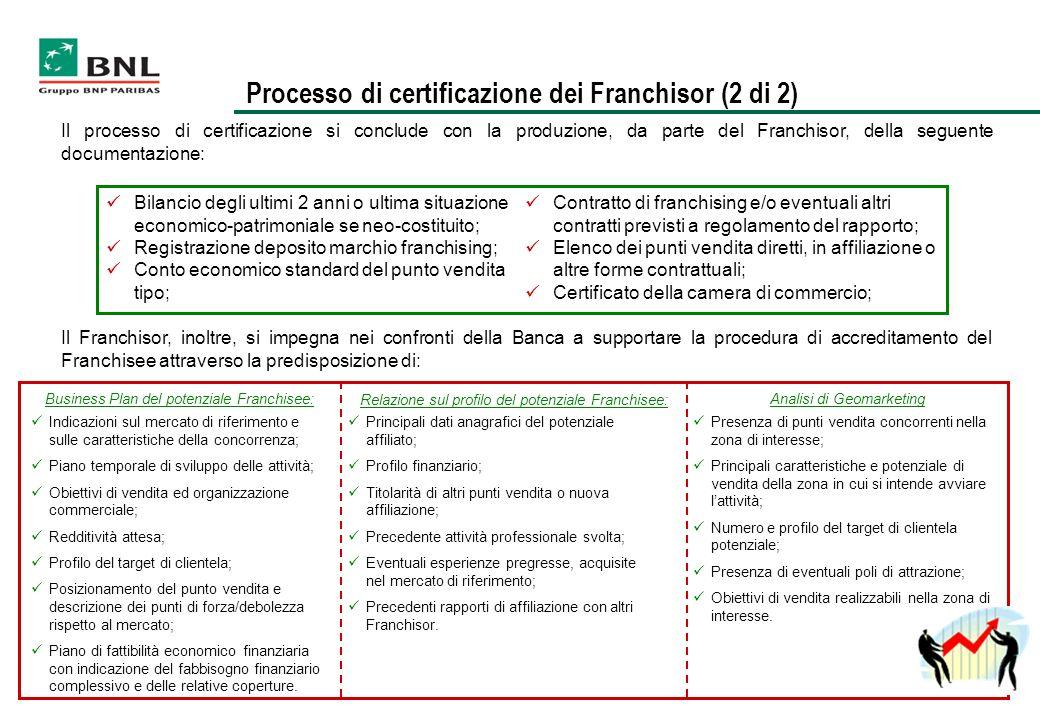 Il processo di certificazione si conclude con la produzione, da parte del Franchisor, della seguente documentazione: Bilancio degli ultimi 2 anni o ul