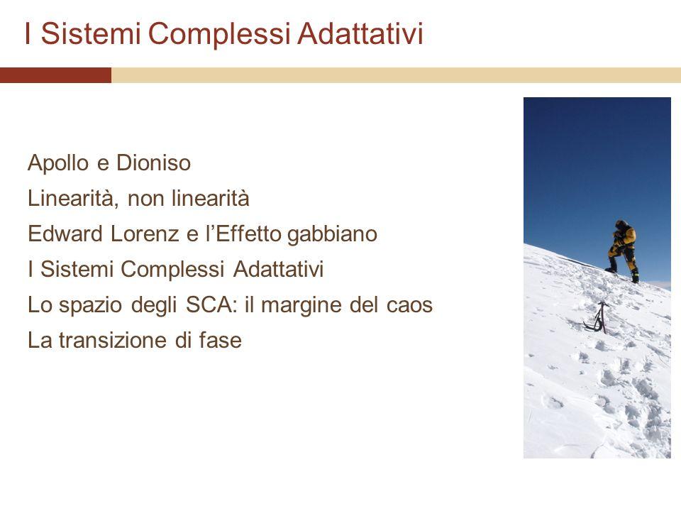 I Sistemi Complessi Adattativi Apollo e Dioniso Linearità, non linearità Edward Lorenz e lEffetto gabbiano I Sistemi Complessi Adattativi Lo spazio de