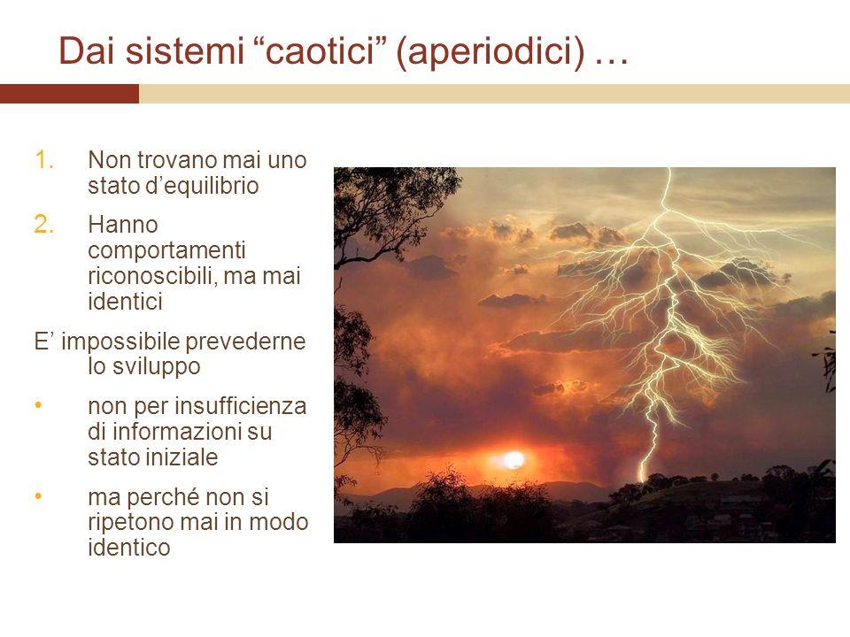 Dai sistemi caotici (aperiodici) … 1. Non trovano mai uno stato dequilibrio 2. Hanno comportamenti riconoscibili, ma mai identici E impossibile preved