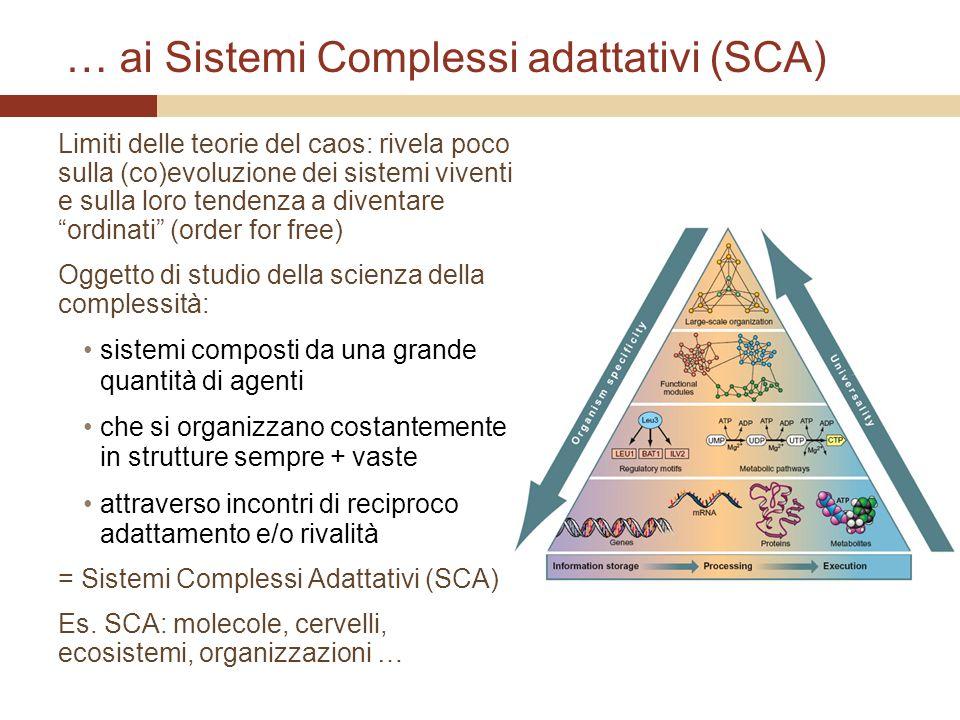 … ai Sistemi Complessi adattativi (SCA) Limiti delle teorie del caos: rivela poco sulla (co)evoluzione dei sistemi viventi e sulla loro tendenza a div