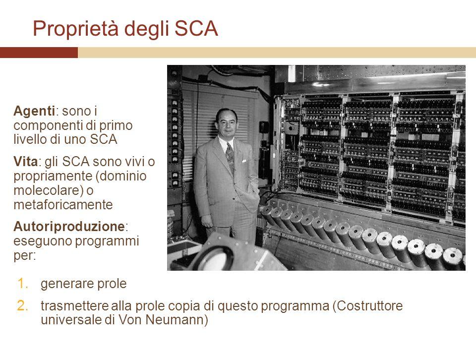 Proprietà degli SCA Agenti: sono i componenti di primo livello di uno SCA Vita: gli SCA sono vivi o propriamente (dominio molecolare) o metaforicament