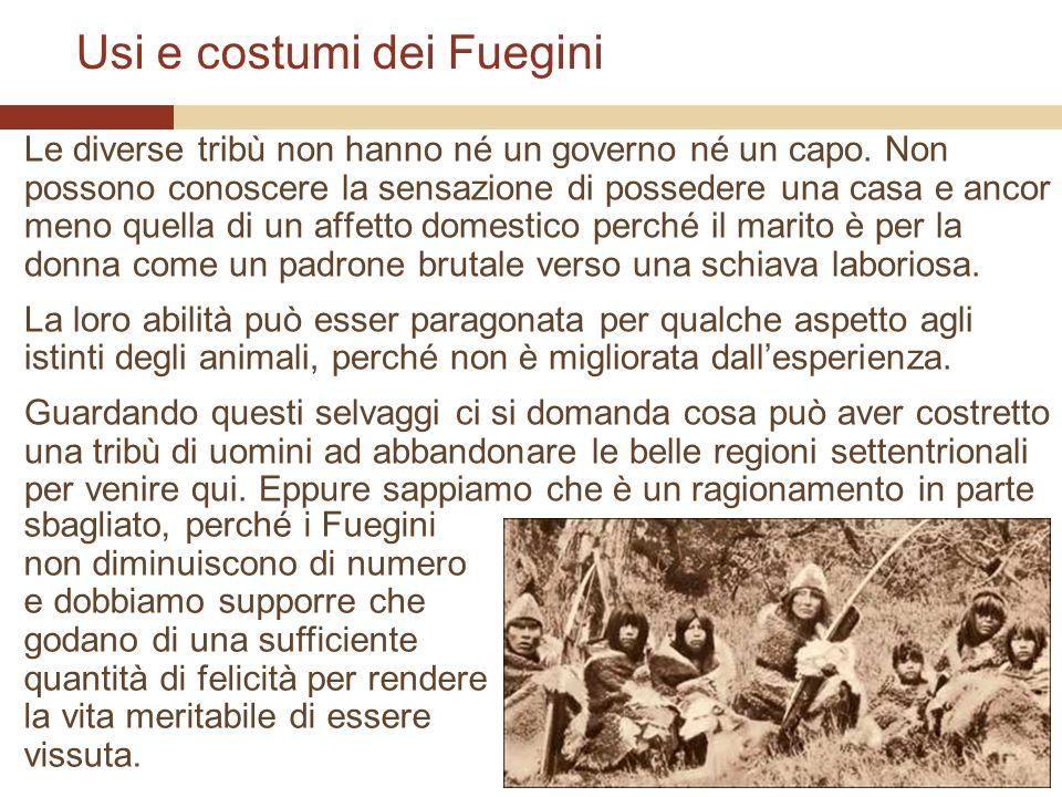 Usi e costumi dei Fuegini Le diverse tribù non hanno né un governo né un capo. Non possono conoscere la sensazione di possedere una casa e ancor meno