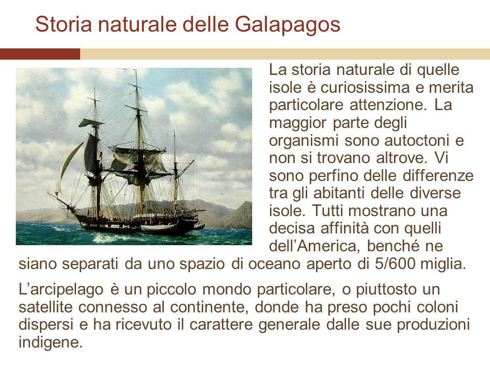 Storia naturale delle Galapagos La storia naturale di quelle isole è curiosissima e merita particolare attenzione. La maggior parte degli organismi so