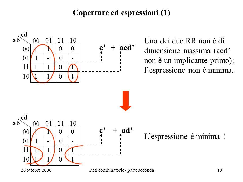 26 ottobre 2000Reti combinatorie - parte seconda12 Esempi di ricerca delle espressioni minime con il metodo grafico