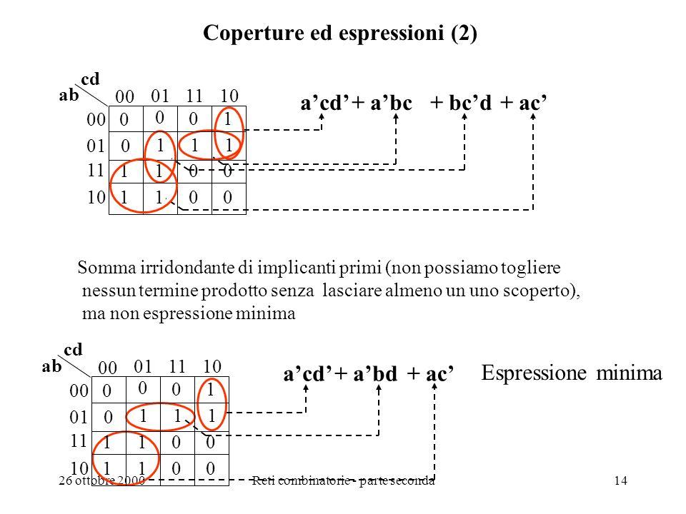 26 ottobre 2000Reti combinatorie - parte seconda13 Coperture ed espressioni (1) 00 011110 00 ab cd 1 100 1 -0- 1101 1101 01 11 10 c + acd Uno dei due