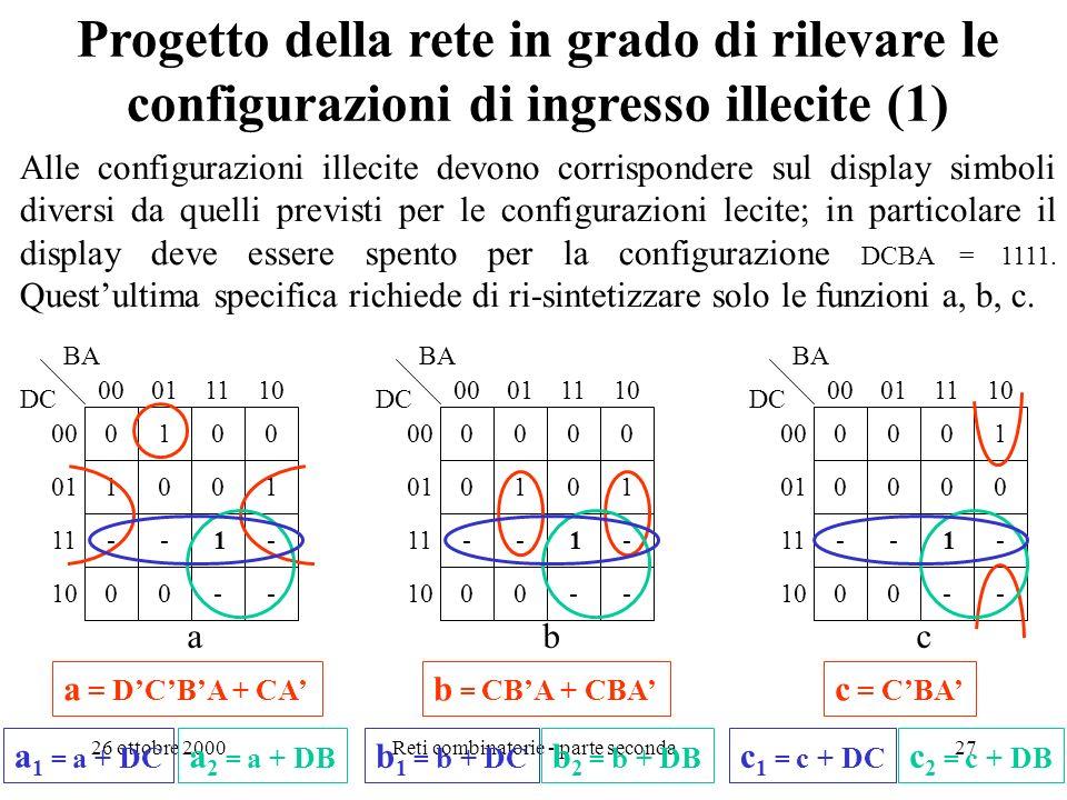 26 ottobre 2000Reti combinatorie - parte seconda26 0 0 1 0 0 1 0 0 0 0 0 1 1 0 1 0 0 1 1 0 0 0 1 0 0 1 0 0 1 1 0 0 0 0 0 0 0 0 1 1 1 1 1010 DCBA a b c