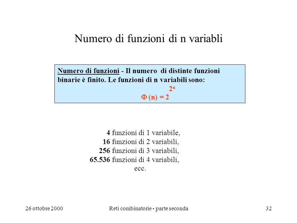 26 ottobre 2000Reti combinatorie - parte seconda31 Quali altre algebre si possono utilizzare oltre allalgebra di commutazione? Ora conosciamo lalgebra
