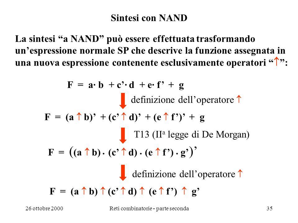 26 ottobre 2000Reti combinatorie - parte seconda34 Algebre binarie G. Boole (1854) Calcolo delle proposizioni vero, falso e, o, non tre operatori Alge