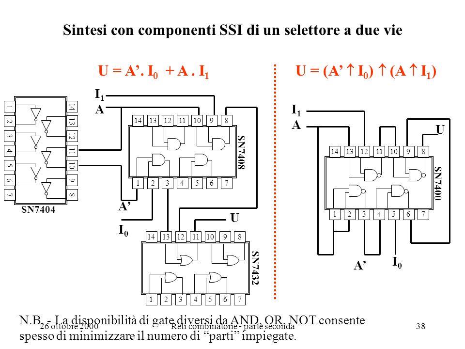 26 ottobre 2000Reti combinatorie - parte seconda37 Esempio: sintesi a NAND di un EX-OR U = a b + ab passi 2 e 3 U = a b + ab + aa + bb U = a (a + b) +