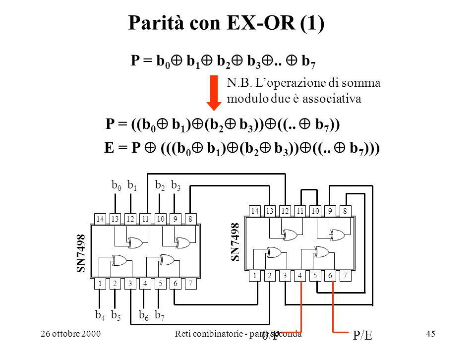 26 ottobre 2000Reti combinatorie - parte seconda44 Esercizi Assumendo p come ritardo di propagazione di un gate, si determini quale è il ritardo massi