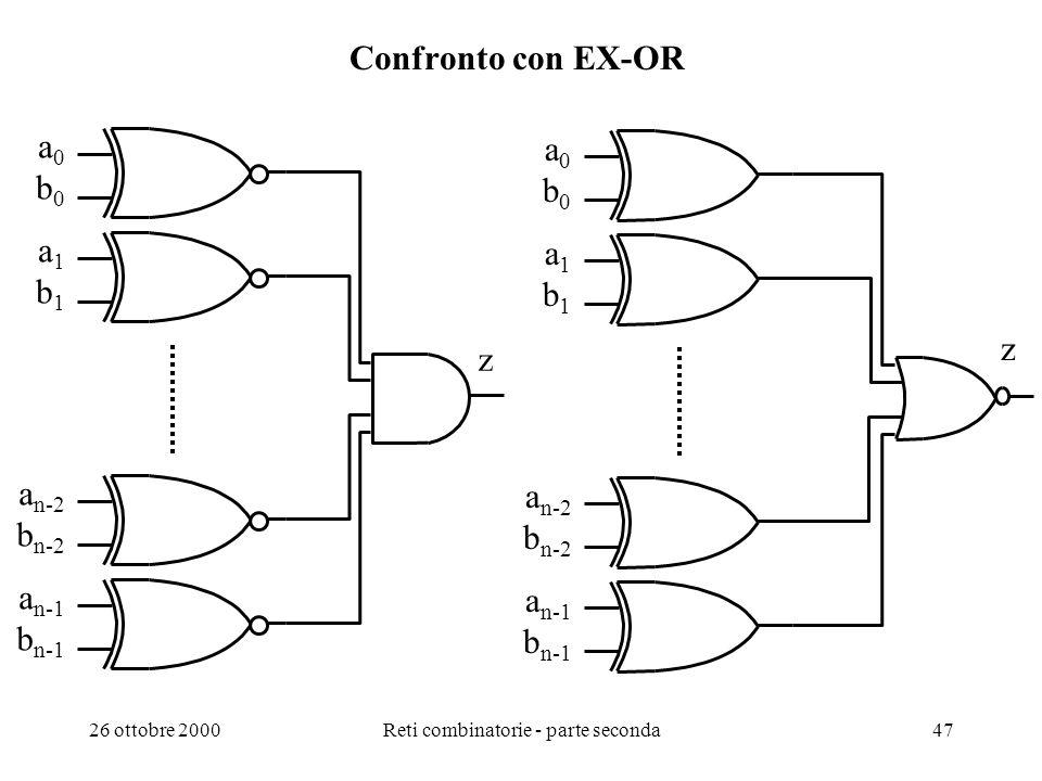 26 ottobre 2000Reti combinatorie - parte seconda46 Parità con EX-OR (2) Generazione parità e rilevazione errori singoli su dati da due byte: P E 280 T