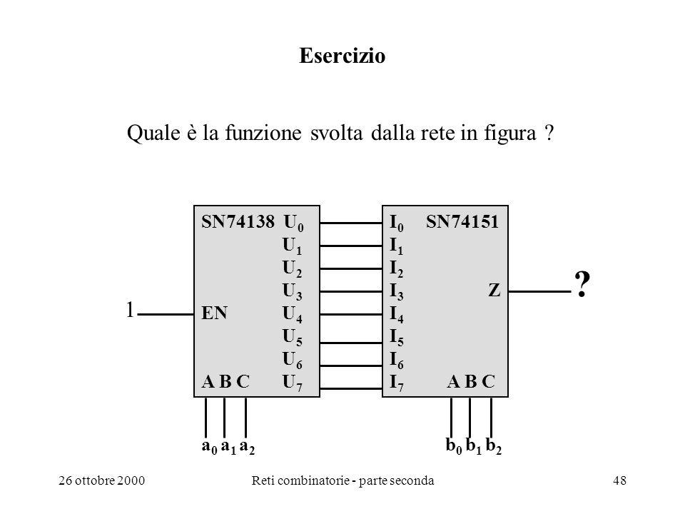 26 ottobre 2000Reti combinatorie - parte seconda47 Confronto con EX-OR a0b0a0b0 a1b1a1b1 a n-2 b n-2 a n-1 b n-1 z a0b0a0b0 a1b1a1b1 a n-2 b n-2 a n-1