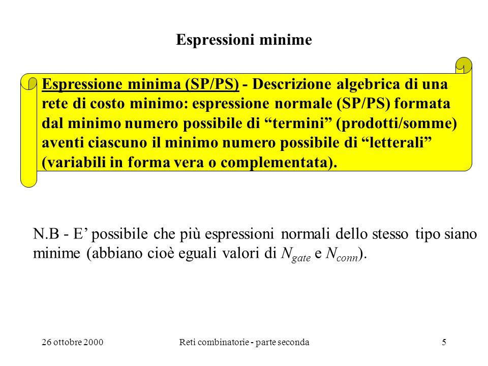26 ottobre 2000Reti combinatorie - parte seconda4 Schemi logici di costo minimo (forme normali) Rete combinatoria di tipo SP e di costo minimo - Schem