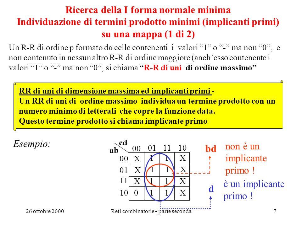 26 ottobre 2000Reti combinatorie - parte seconda6 Raggruppamenti rettangolari di uni e condizioni di indifferenza RR ed implicanti -Un RR di ordine p