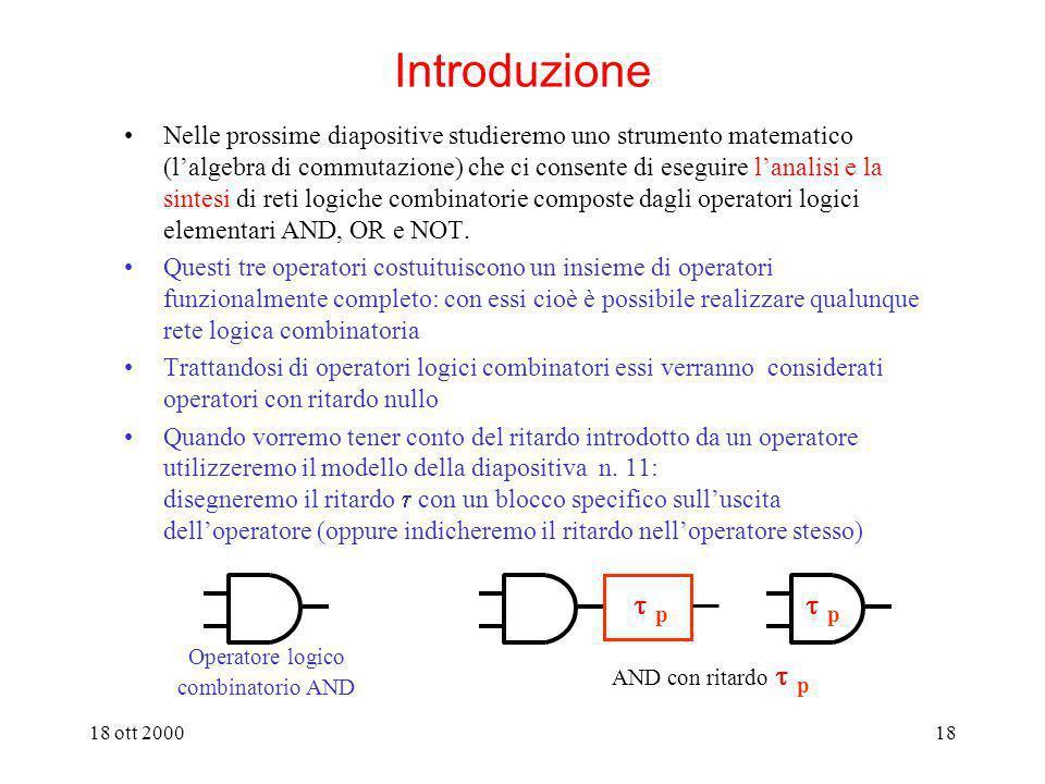 18 ott 200017 Analisi e sintesi di reti combinatorie algebra della commutazione