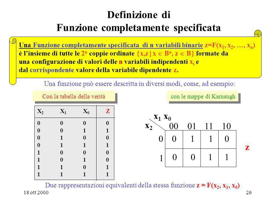 18 ott 200025 Definizione di espressione dellalgebra di commutazione Esempi: a+(b.c)a + bc a.b(a+b)ab + 0 + ab Loperazione di prodotto è prioritaria r