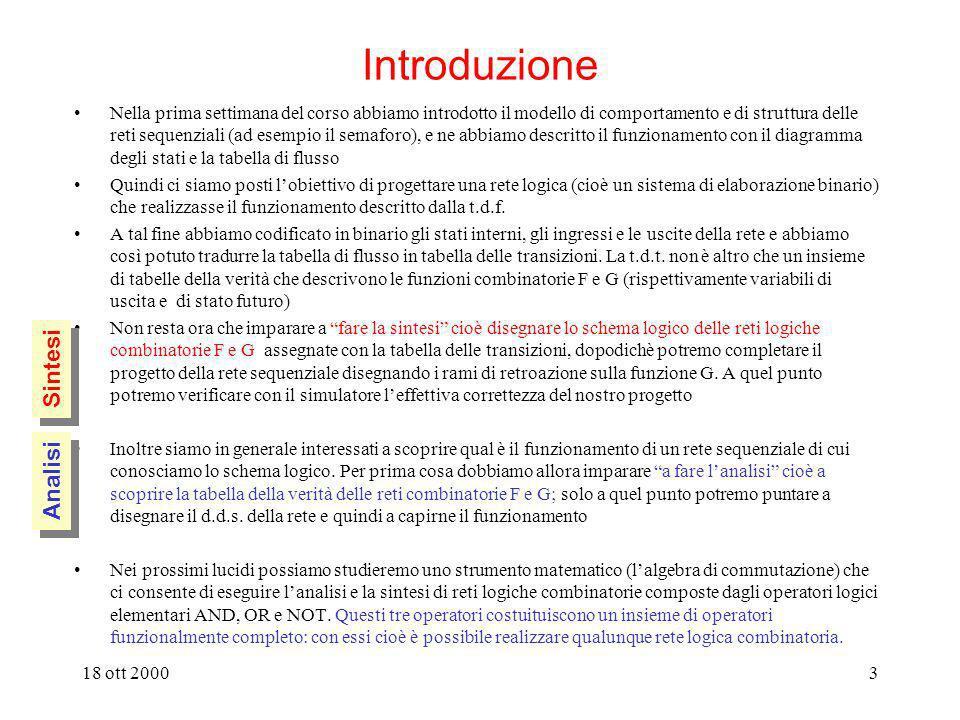 18 ott 20002 Analisi e sintesi di reti combinatorie introduzione: porte logiche e operatori logici