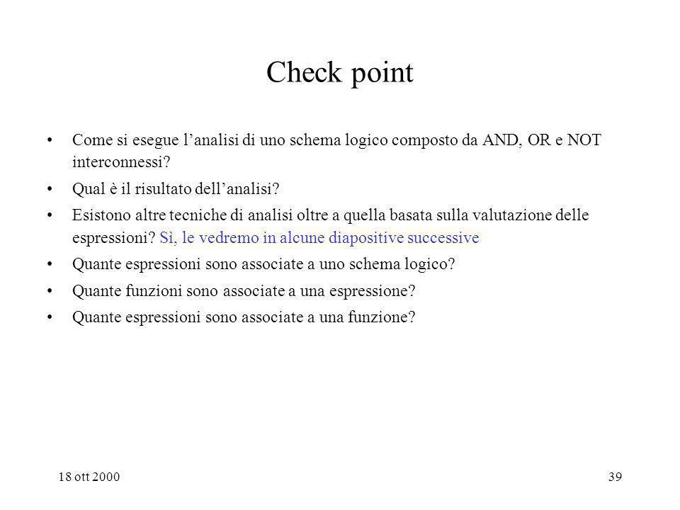 18 ott 200038 Dallo schema logico allespressione Per individuare lespressione corrispondente ad un dato schema si parte dai gate che elaborano solo se