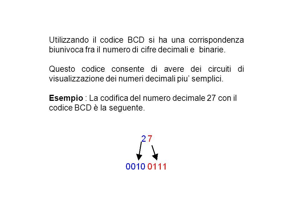 Il Codice BCD (Binary Coded Decimal) Ad ogni cifra decimale sono associati 4 bit, secondo la tabella seguente: Dalla tabella è possibile osservare che