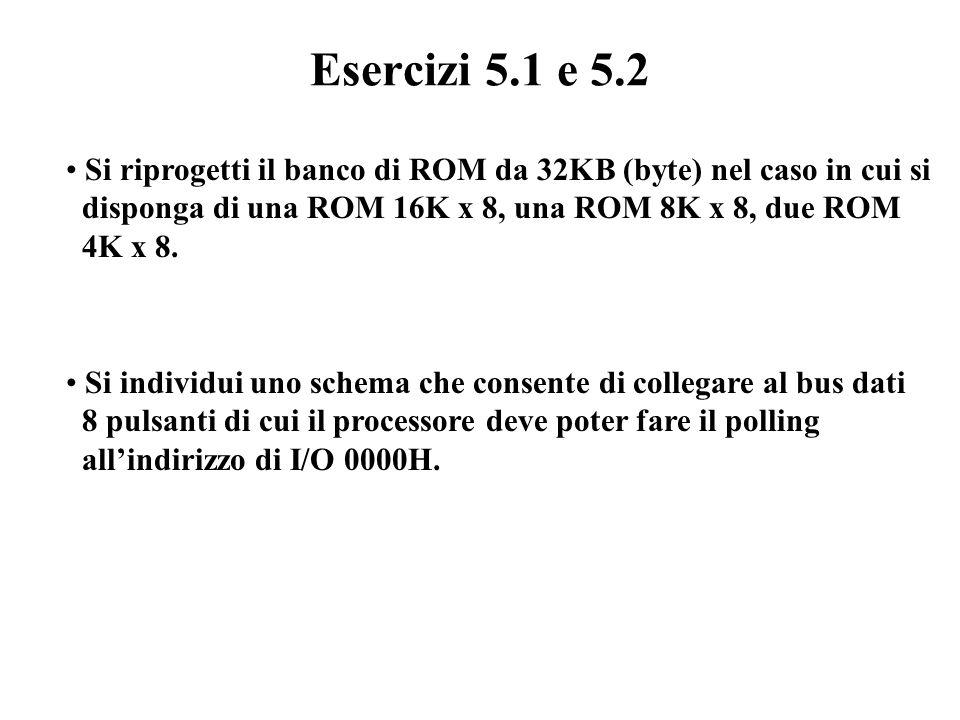 Progetto di un banco di ROM (1) a13 a14 a15 DECDEC 7654321076543210 a[0..12] ROM A 0 A 1 …A 12 D0D0 D0D0 D0D0 D0D0 D7D7 D7D7 D7D7 D7D7 d0 d7 MRD* OE*