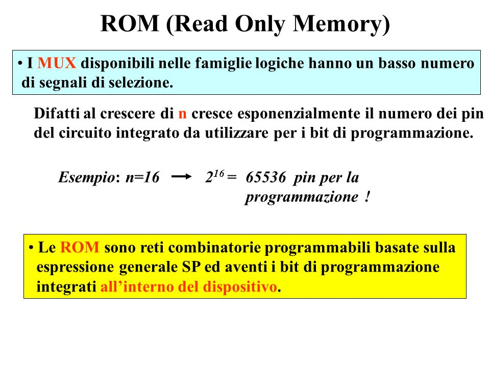 MUX come reti programmabili SN74151 I 0 I 1 I 2 I 3 Z I 4 I 5 I 6 I 7 CBA SN74153 I 0 I 1 I 2 Z I 3 B A SN74157 I 0 I 1 Z A SN74150 I 0 I 1 I 2 I 3 I