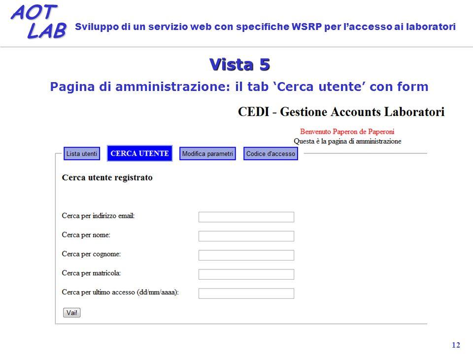 12 AOT LAB LAB Sviluppo di un servizio web con specifiche WSRP per laccesso ai laboratori Vista 5 Pagina di amministrazione: il tab Cerca utente con form